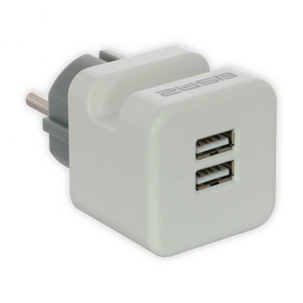 2USB Zwischenstecker easyCharge Plugin EU mit Handyhalter, 12W, 2,4 A, reinweiß matt