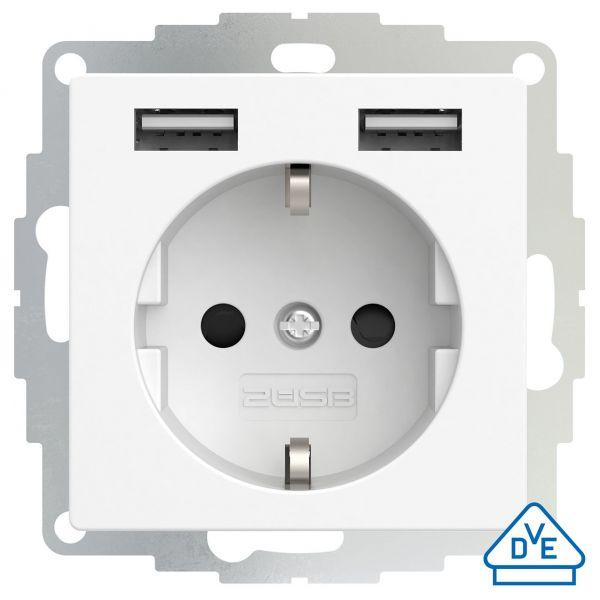 2USB Schutzkontakt-Steckdose inCharge Pro 55, 2,4 A, 12W, reinweiß matt