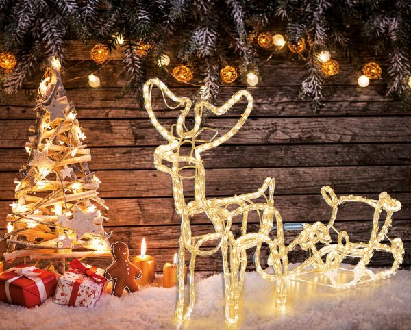 Weihnachtsbeleuchtung Schlitten.Led Rentier Mit Schlitten Ledmaxx 8w 2700k Ip44