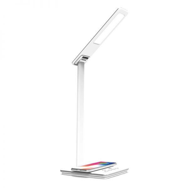 LED Design-Tischlampe LEDmaxx weiß/silber, mit induktiver Ladestation