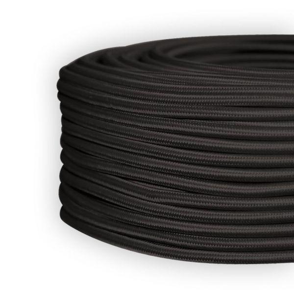 Textilleitung, Textilkabel, Stoffkabel LEDmaxx schwarz, 3-adrig H03VV-F 3x0,75mm²