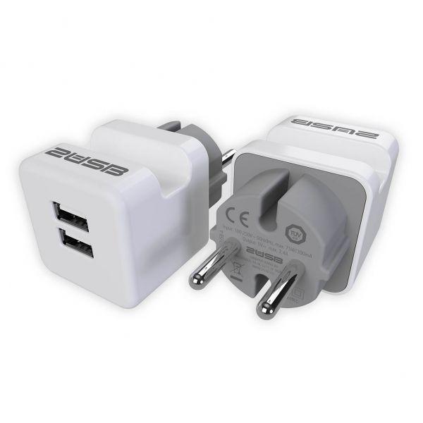 2USB Zwischenstecker easyCharge Plugin EU mit Handyhalter 2er-Set, 12 W, 2,4 A, reinweiß matt