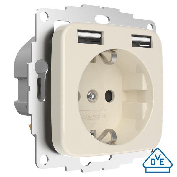 2USB Schutzkontakt-Steckdose inCharge Pro SI, cremeweiß glänzend