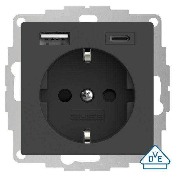 2USB Schutzkontakt-Steckdose inCharge Pro 55, USB A/C, 3 A, 15W, anthrazit