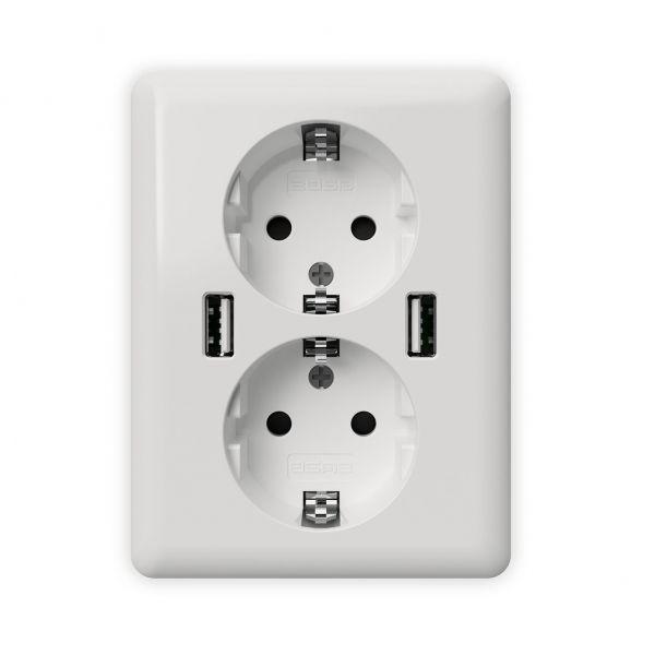 2USB Stand-Alone Doppel-Steckdose easyCharge DUO, 2,4 A, 12W, reinweiß glänzend
